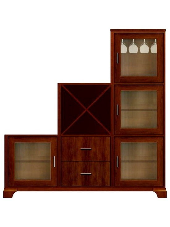 Howard Miller Custom - Amber Cabinet in Newport Cherry - This cabinet is finished in Newport Cherry on select Hardwoods and Veneers, with Antique Brass hardware. 4 doors with ribbed Glass and 2 flat panel drawers. 4 adjustable interior shelves, 1 cross storage shelf and 1 stemware rack. Flat profile top and cove profile base. Hardware: bar pulls on doors and drawers. Features soft-close doors, metal drawer glides, and metal shelf clips. Simple assembly required. 71 1/4 in. W x 16 in. D x 77 1/4 in. H