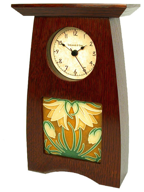 Schlabaugh & Sons Ladybell Oak Wood Clock contemporary-clocks