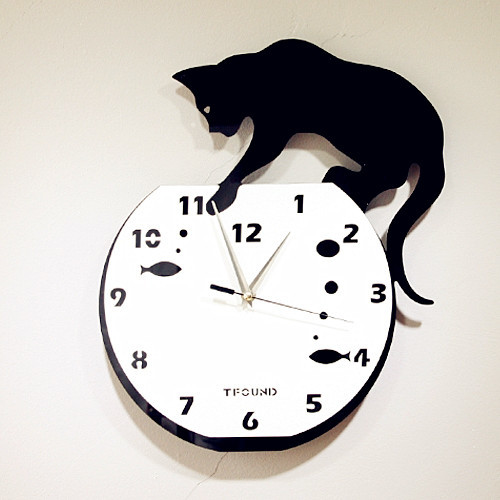 Naughty Cat Acrylic Wall Clock With DIY Dial Modern Clocks Other Metro By Jollyhome