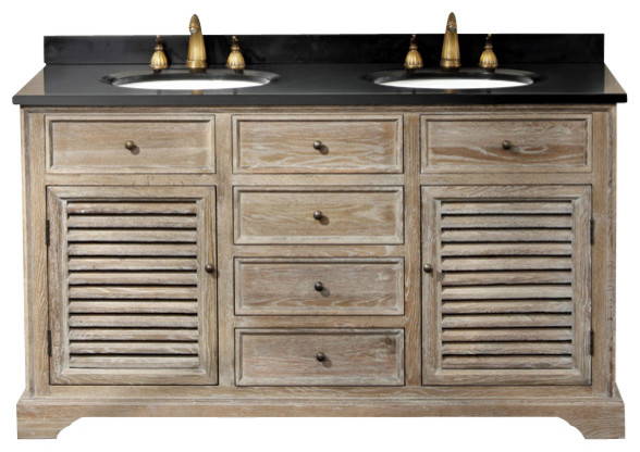 cotuit 59-in double vanity (weathered w/ white carrera) farmhouse-bathroom-vanities-and-sink-consoles