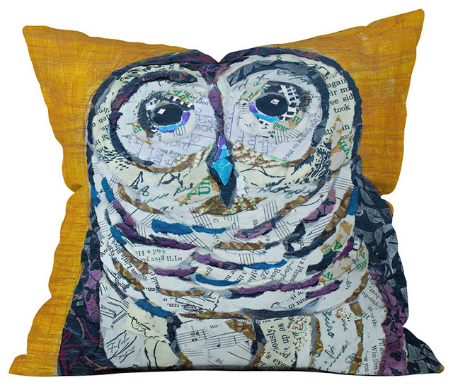 DENY Designs Elizabeth St Hilaire Nelson Hoot 2 Throw Pillow eclectic-pillows