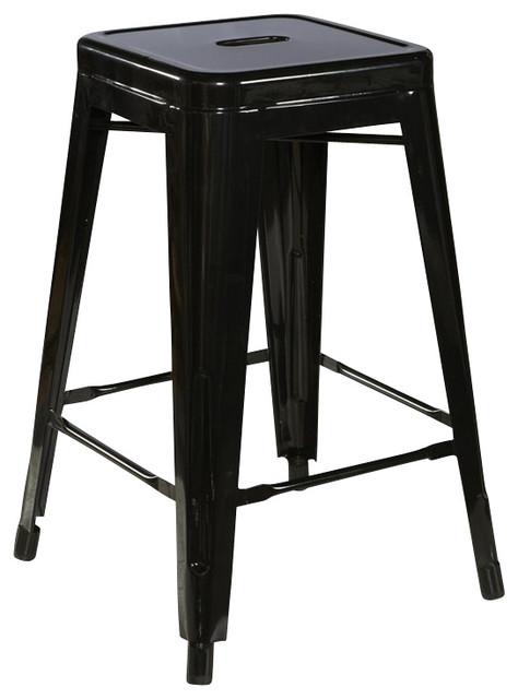 Linon Square Metal Bar Stool In Black Set Of 2