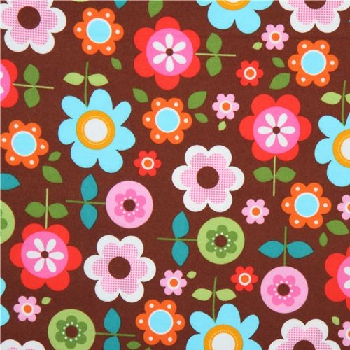 brown flannel fabric flowers Robert Kaufman kawaii  fabric