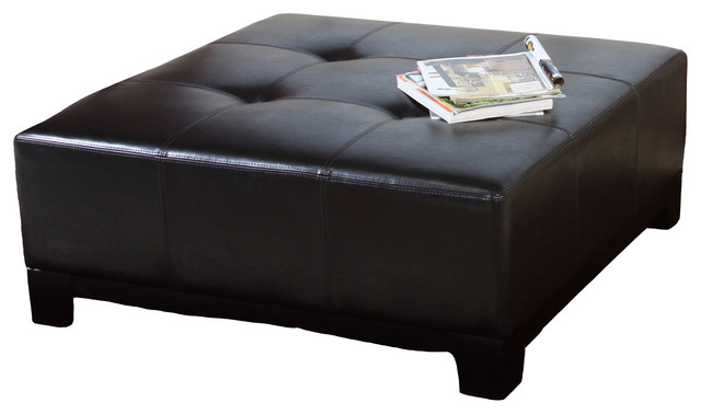 Avalon Leather Ottoman Coffee Table Transitional Ottomans And