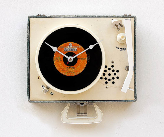 Record Player Clock by Stuff Made From Stuff eclectic-clocks