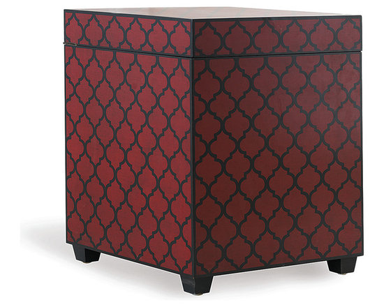 Parker Trunk Red - The Parker trunk is hand screened in antiqued red with our morrocan tile pattern on all sides and top. Complete with a hinged top for hidden storage. Velvet lined interior. Perfect beside your sofa or chair as a accent table or lamp stand!