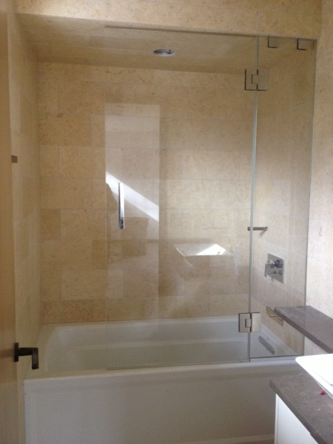 frameless shower door with splash panel for tub shower