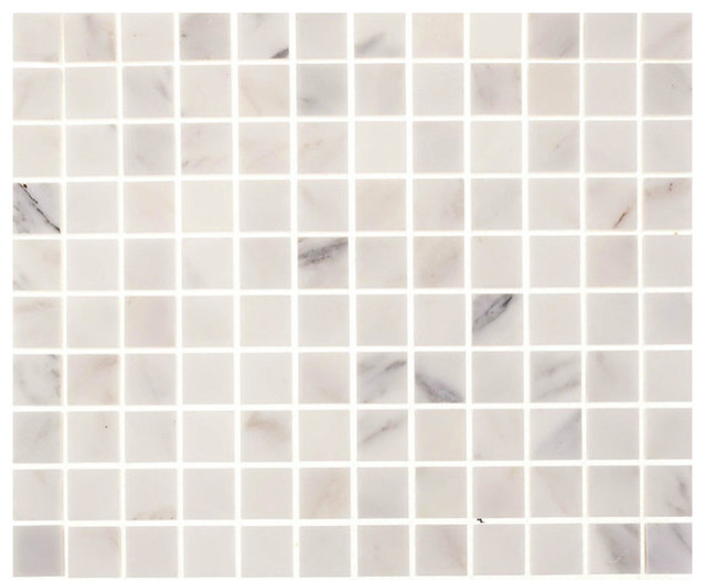 aspen white marble 1 x1 square tile backsplash wall floor