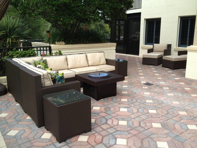 Patio Furniture Set With Gas Fire Pit Table Traditional Patio Other Metro By All