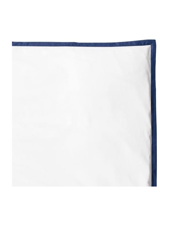 """Serena & Lily - Navy Border Frame Duvet - For those who crave a quieter bed, this beautiful layering piece allows you to start simple and add on as you desire. Dial it up with sheets in a bold color and pattern, or keep it clean and classic--whatever suits your style. Crisp white 300-thread-count 100% cotton sateen with fabric-covered button closures and 1"""" flange in Navy."""