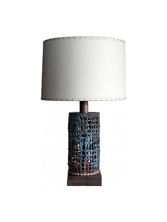 Small Basket Weave Lamp by Clate Grunden - Hand wrought glazed stoneware assumes a beautifully textured, basket weave pattern, and perches atop a custom waxed walnut base. The lamp's pattern paper shade boasts fine, hand-stitched detailing. Shown in a matte turquoise glaze on a white clay body. Other finishes available.