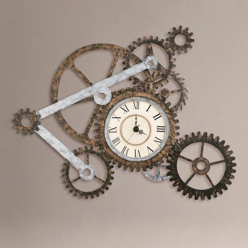 Gear Wall Art With Clock Eclectic Clocks By Cost