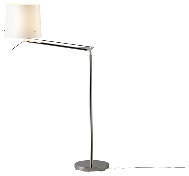 Samtid Floor/Reading Lamp, Nickel Plated/White - modern - floor