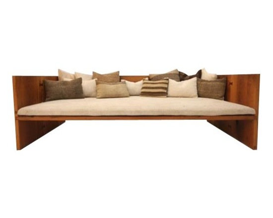 ecofirstart - Modern Sofa and Daybed - A daybed, made of hundred years old reclaimed oak boards, harmonizing modern life with traditional Turkish sofa. This modular piece, which assembles with wooden dovetail joinery, designed for interior/exterior use. Hand made vintage home textiles, made of wool, angora, hemp, and black goat hair, used as covers.