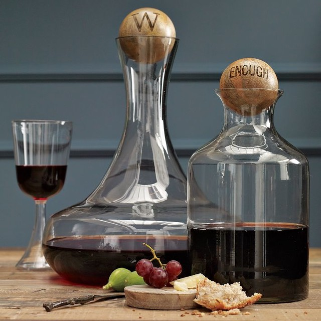 Glass Bottles with Wood Stoppers traditional-everyday-glasses