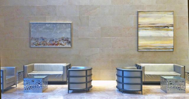 Artwork in Lobby contemporary-living-room