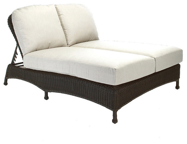 Classic Wicker Double Outdoor Chaise Lounge with Cushions Patio Furniture