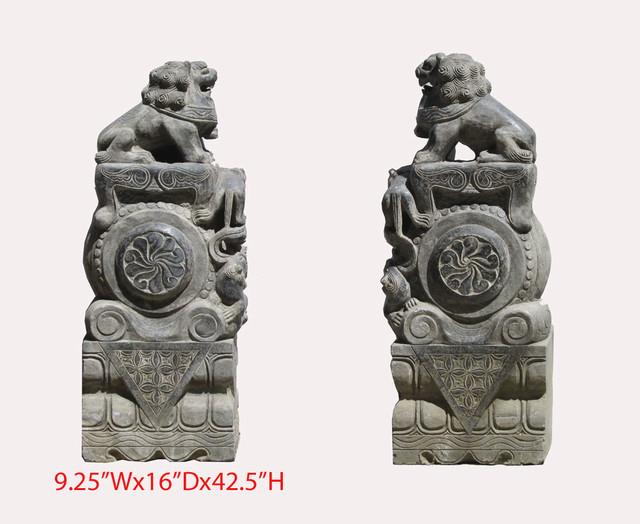 Pair Huge Chinese Antique Hand Carving FenShui Drum Foo Dog Statue asian-garden-sculptures