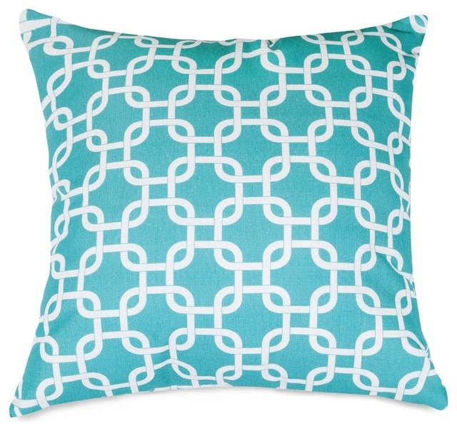 Teal Links Extra Large Pillow - Midcentury - Outdoor Cushions And Pillows - by Majestic Home Goods
