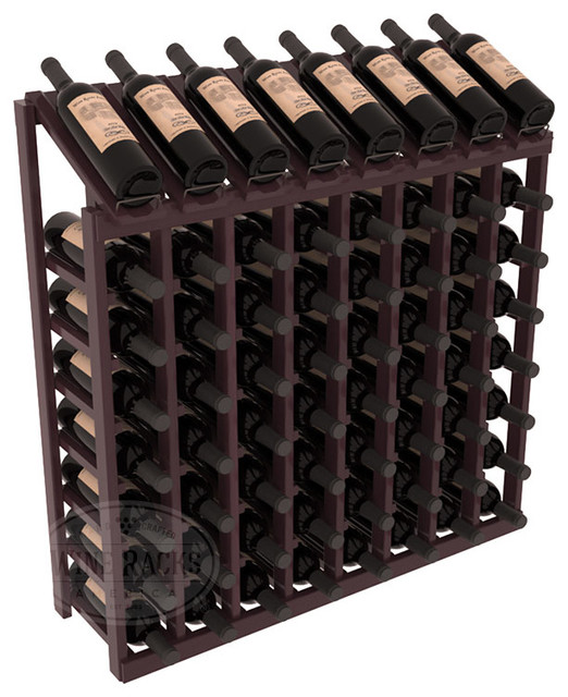 64 Bottle Display Top Wine Rack in Redwood, Burgundy Stain + Satin Finish contemporary-wine-racks
