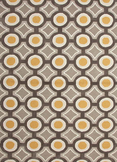 Modern Geometric Pattern Gold Yellow Polyester Tufted Rug