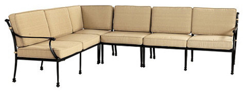 Fast Dry Outdoor Amalfi 4 Piece Sectional Cushion with Box Edge Welts contemporary-outdoor-pillows