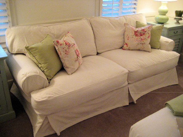 Shabby Chic Cottage Slipcovered Sofa Traditional Sofas