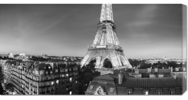 Paul Hardy 'The Eiffel Tower and surrounding Buildings' Stretched Canvas Art contemporary-artwork