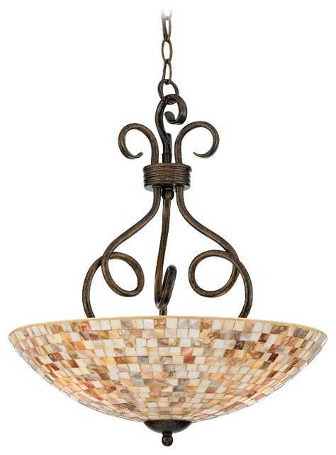 "Traditional Monterey Mosaic Malaga Finish 18"" Wide Pendant Light traditional-chandeliers"