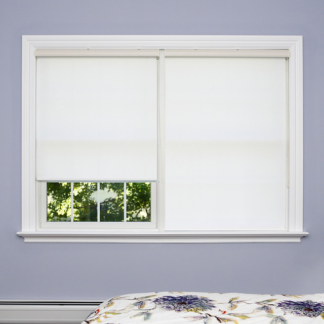 Premium White Wood Look Roller Window Shade contemporary-roller-blinds