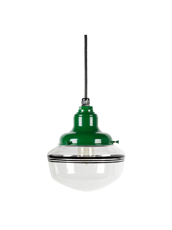 Scholar Clear Schoolhouse Pendant Light - The iconic schoolhouse light fixture on a casual cord! Customize your cord-hung pendant's size and detail with colorful hand-painted bands on the opal globe.