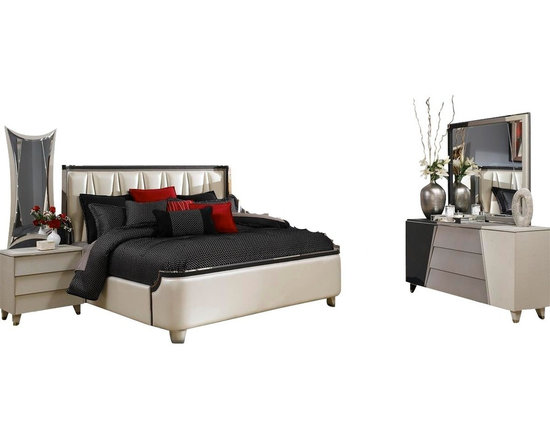 Aico Michael Amini - Beverly Blvd 5 Piece Eastern King Upholstered Bedroom Set - Beverly Blvd. is the newest collection from the collaboration between Michael Amini and Jane Seymour. A clean, crisp European contemporary collection influenced by modern architecture, contemporary art, and today's cutting edge fashion. Beverly Blvd has elegant textures and stunning details, bringing high fashion to your home. Pearlized leathers, high luster painted finish, and chrome accents add to the glamour of this stylish collection. Unique polished hardware adds the finishing touch to this collection aimed towards the fashion conscious, trend setting, and contemporary connoisseur.