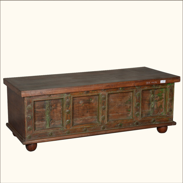 Classic Pirate Reclaimed Wood & Iron Standing Coffee Table Chest rustic-accent-chests-and-cabinets