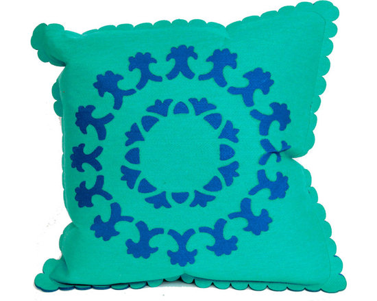 """Trans-Ocean Outdoor Pillows - Trans-Ocean Liora Manne Kaleidoscope Suzanie Turquoise - 20"""" x 20"""" - Designer Liora Manne's newest line of toss pillows are made using a unique, patented Lamontage process combining handmade artistry with high tech processing. The 100% polyester microfibers are intricately structured by hand and then mechanically interlocked by needle-punching to create non-woven textiles that resemble felt. The 100% polyester microfiber results in an extra-soft hand with unsurpassed durability. http://www.authenteak.com/accessories-outdoor-throw-pillows.html"""