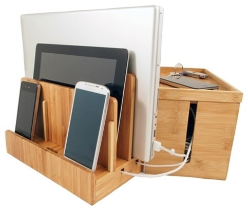Bamboo Multi-Charger and Cord Cubby Combo, Small - Contemporary - Desk Accessories - by Great ...