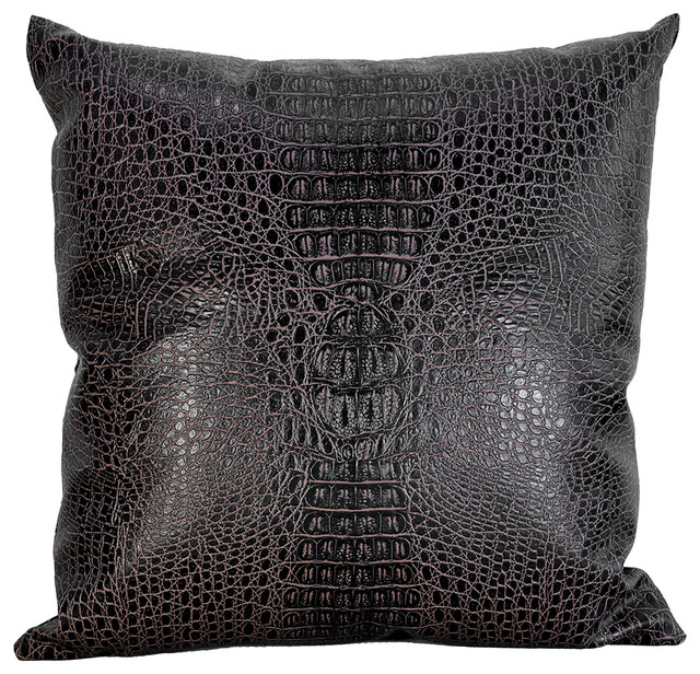 Throw Pillows Faux Leather : Croc faux leather decorative throw pillow, Azaan-C, 20x20 modern-decorative-pillows