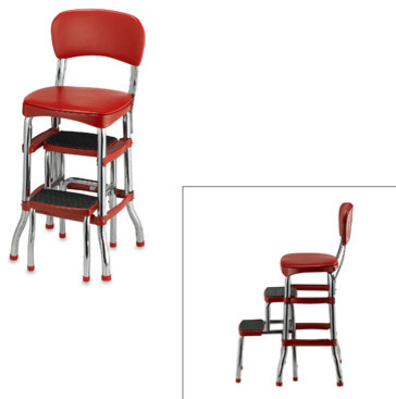 Cosco Retro Chair Step Stool Red Modern Bar Stools