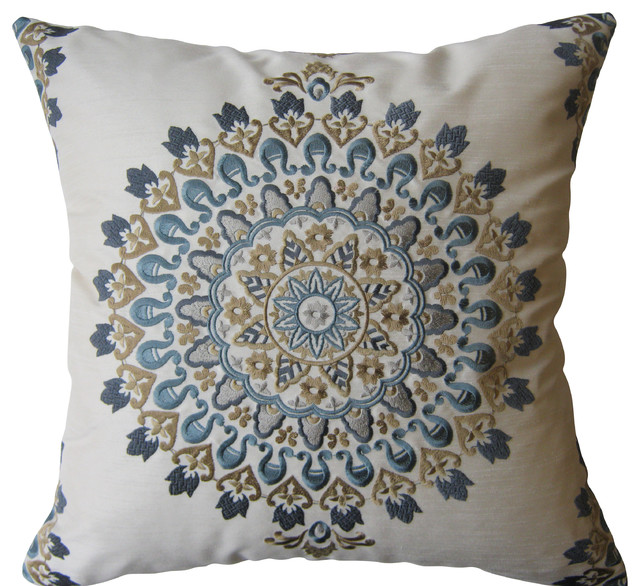 Blue Medallion Throw Pillows : Blue and Tan Exquisite Embroidered Medallion Pillow, Without Insert - Contemporary - Decorative ...