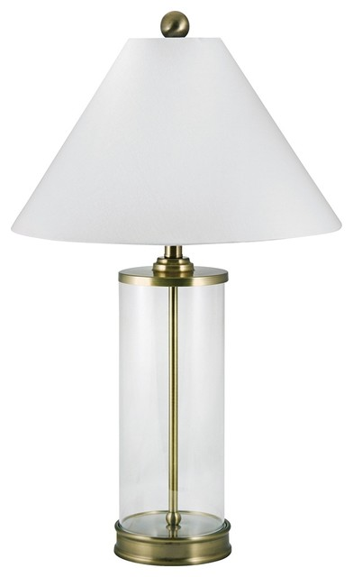 Contemporary Clear Glass Cylinder Antique Brass Table Lamp Contemporary Table Lamps