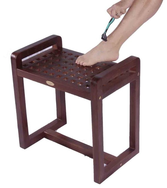 20 in. Teak Grate Shower Stool w Lift Aide Ar - Contemporary - Shower Benches & Seats - by ivgStores