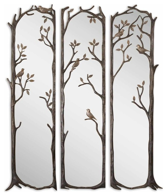 Perching birds decorative mirror set of 3 rustic mirrors by fratantoni lifestyles - Full length decorative wall mirrors ...