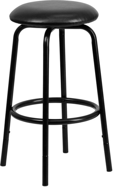 Backless Black Dual Height Counter Or Bar Stool With Black