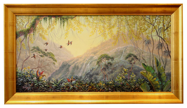 Wall Art Painting With Frame : Mystical rain forest framed oil painting tropical