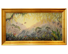 Mystical Rain Forest Framed Oil Painting tropical originals and limited editions