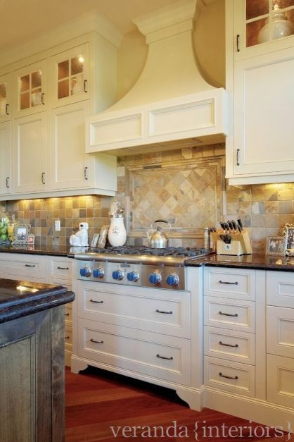 Painted kitchen with alder island traditional
