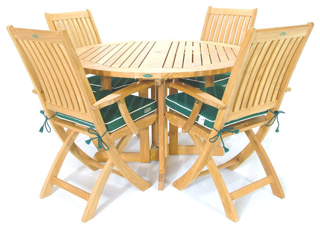 Barbuda 5pc Teak Patio Table and Folding Chairs Modern Patio Furniture An