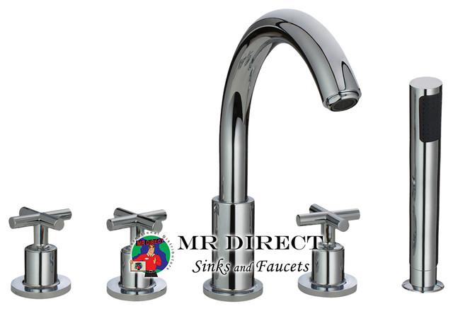 716 Chrome Roman Tub Faucet With Body Spray Contemporary Bathroom Faucets