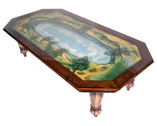 "Diorama Dining Table for 12 | MacKenzie-Childs - Seated at our Diorama Dining Table, guests are treated to a three-dimensional bird's eye view of Cayuga Lake and the farmlands that surround our studio. The ""diorama,"" hand-painted by our artisans on three wood layers, is protected by a clear glass top, and framed in hand-finished cherry wood. The table rests on hand-painted majolica legs, also made here on the farm."