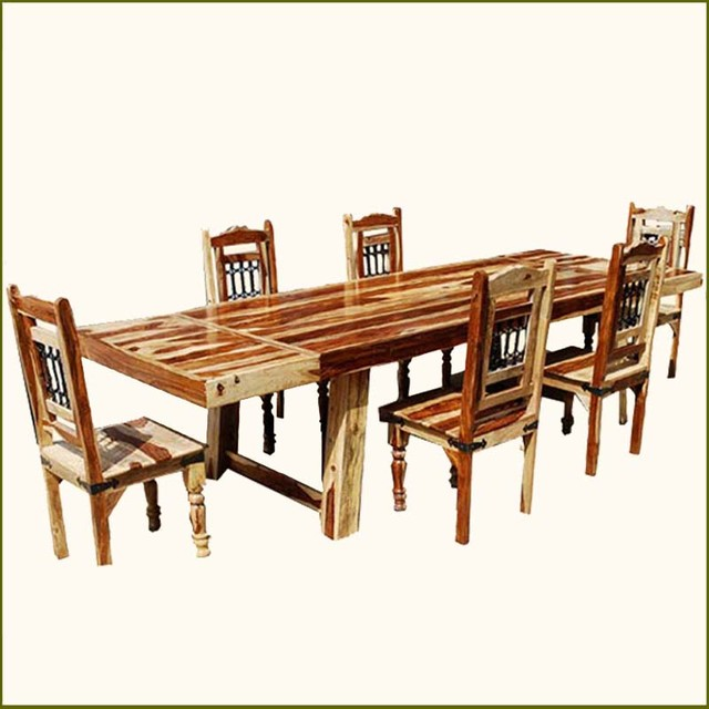 Dallas ranch solid wood 7pc dining room table chair set w extensions traditional austin - Dining room sets austin tx ...