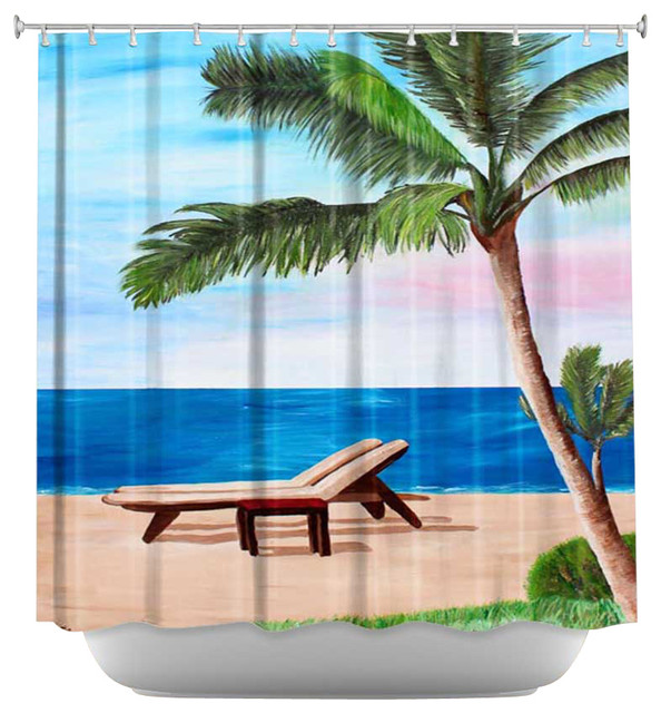 Shower Curtain Artistic - Strand Chairs on Caribbean contemporary-shower-curtains
